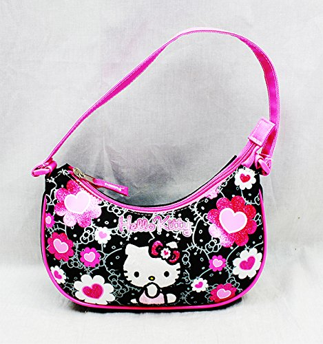 Handbag - Hello Kitty - Black Flower Bow New Hand Bag Purse Girls 84013