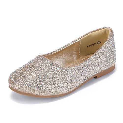 PANDANINJIA Girl's Katelyn Classic Slip On Ballerina Flat Dress Shoes (Toddler/Little Kid) (Gold Rhinestones, 2 M US Little Kid) by PANDANINJIA