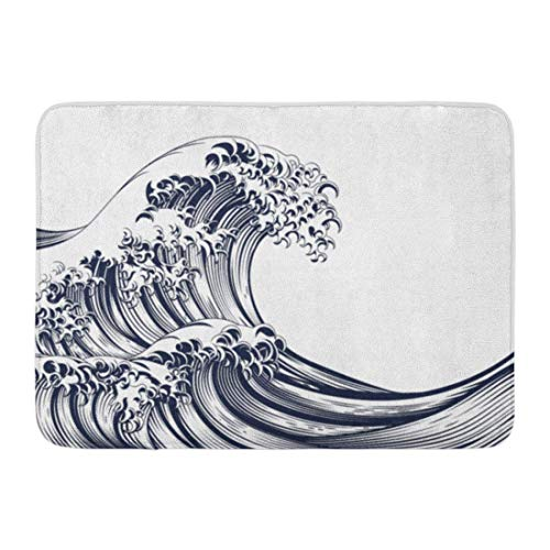 Jugbasee Doormats Bath Rugs Outdoor/Indoor Door Mat Blue Chinese Oriental Japanese Great Wave in Vintage Retro Engraved Etching Woodcut Kanagawa Bathroom Decor Rug 16