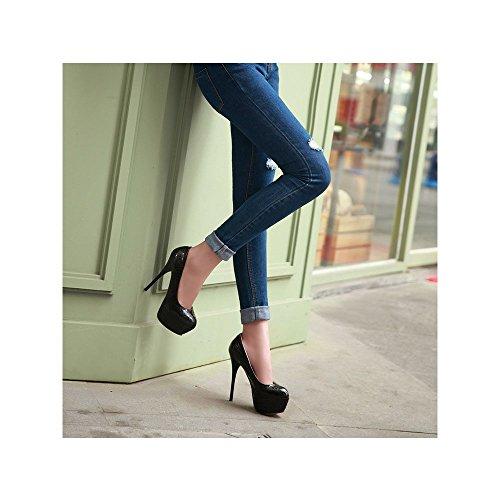 Femeninos atractivos del talón de 13,5 cm de alto zapatos de tacón de plataforma de 4,5 cm Negro