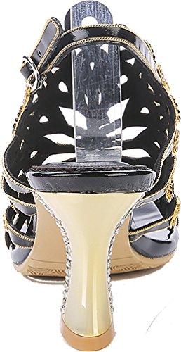 Abby Kvinna Sexig Unika Bröllop Brud Show Komfort Förvånande Mode Läder Mitten Klack Sandaler Svart
