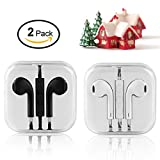 Iphone Earphones,In-Ear Wired earphones for iPhone6s/6/5 Android phone SamSung HuaWei One plus Xiaomi phone Earbuds Laptop MP3/4/5 Speaker 2pack White-Black