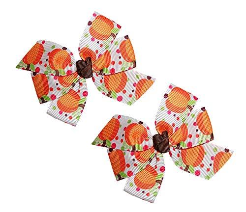 WD2U Baby Girls Set of 2 Polka Dot Pumpkin Harvest Hair Bow Alligator Clips ()