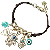 Sumanee String Women Hand Of Fatima Hamsa Evil Eye Bracelet Multiple Pendant