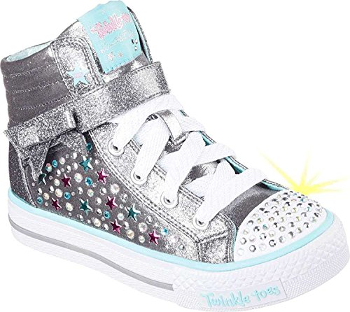 Skechers Kids Girl's Twinkle Toes - Shuffles 10712L Lights (Little Kid/Big Kid) Gunmetal/Turquoise Shoe