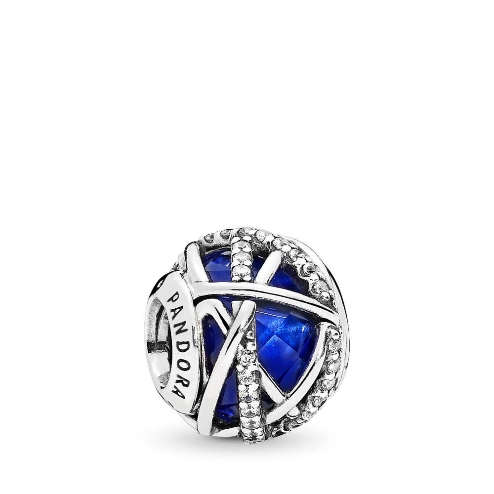 PANDORA Galaxy Charm, Sterling Silver, Royal Blue Crystal, Clear Cubic Zirconia, One Size by PANDORA