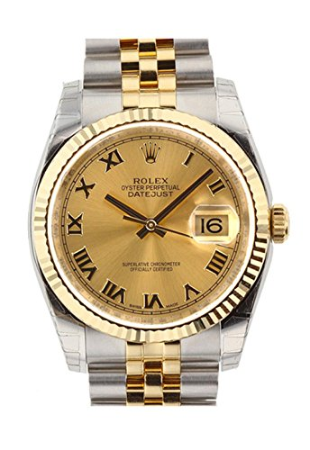 Rolex Datejust 36mm Champagne Dial Fluted Watch 116233