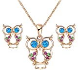 Jewelry Stylish Beautiful Crystals Rose Gold Owl Earrings Pendant Necklace Sets Perfect Gift for Graduation/Birthdays/Valentine