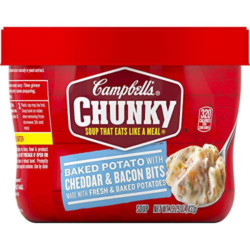 - Campbell's Chunky Baked Potato with Cheddar & Bacon Bits Soup Microwavable Bowl, 15.25 oz. (Pack of 8)