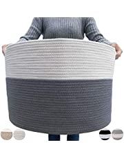 """GOCAN Extra Large Cotton Rope Basket 22"""" x 14"""" Woven Laundry Baskets for Blankets Pillows Storage Basket with Long Handles Decorative Clothes Hamper Basket(Grey/Beige) XXXL"""