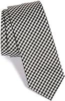 "Hugo by Hugo Boss Checkered Italian Skinny Silk Tie, Black 2.5"" (6.35 CM) 50290712"