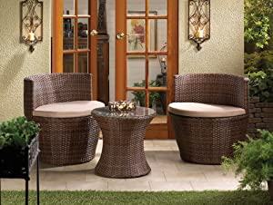 Amazoncom 3 PC SET FAUX RATTAN PATIO CHAIRS AND TABLE INDOOR