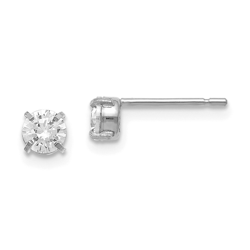 Leslies 14K White Gold Cz Stud-4.0mm Earrings