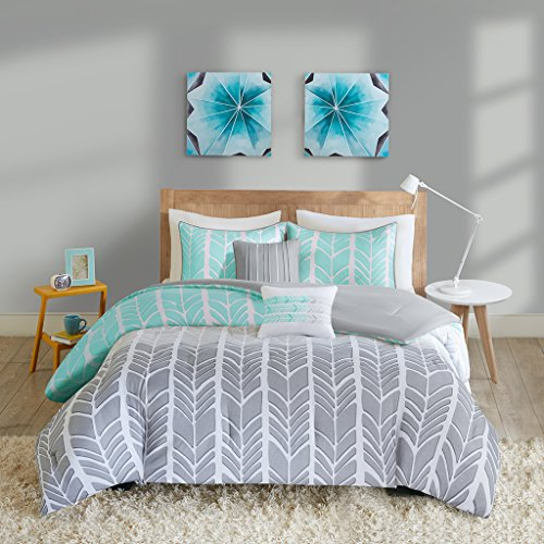 Intelligent Design Adel Comforter Set Twin/Twin XL Size - Aqua, Light Grey, Grey, Geometric Chevron – 4 Piece Bed Sets – Ultra Soft Microfiber Teen Bedding for Girls Bedroom