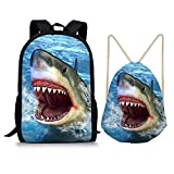 Cheap Showudesigns 17inch School Backpack and Drawstring Bag for Kids Boys Girls Shark Blue Print