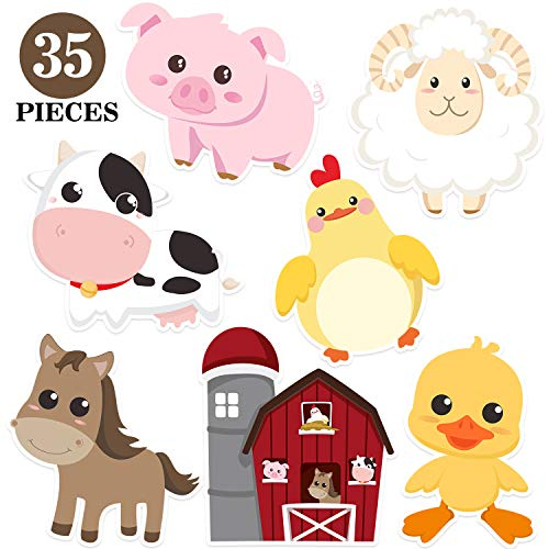 Blulu Farm Animal Party Decorations and Supplies, Farm Animals Decor for Baby Shower, Birthday Party Essentials with 80 Glue Point Dots (35 Pieces Farm Animal Cutouts)]()