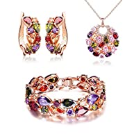 SILYHEART Multicolor Zircon Pendant Necklace Bracelet Earrings Jewelry Set,Women Fashion Jewelry Set,Valentines Day Gifts Birthday Gifts Anniversary Gifts Christmas Gifts for Women Mom Grandma