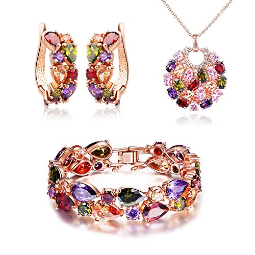 (SILYHEART Multicolor Zircon Pendant Necklace Bracelet Earrings Jewelry Set,Women Fashion Jewelry Set, Birthday Gifts for Women)