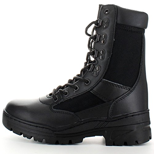 Highlander Mens Alpha Military Leather Lace Up Winter Walking Boots Black