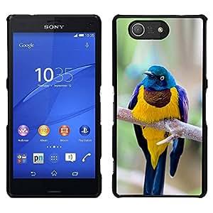 EJOY---Cubierta de la caja de protección para la piel dura ** Sony Xperia Z3 Compact ** --amarillo azul pájaro ramificación plumas de oro