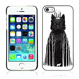 Designer Depo Hard Protection Case for Apple iPhone 5 5S / Wolf In The Woods Art