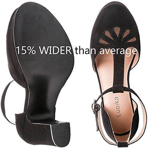 Pump Platform T Heel Close Sandals Heel Women's Width Wide Buckle Toe Heel Suede Summer Mid Black Strap Ankle Luoika xqaFCnO