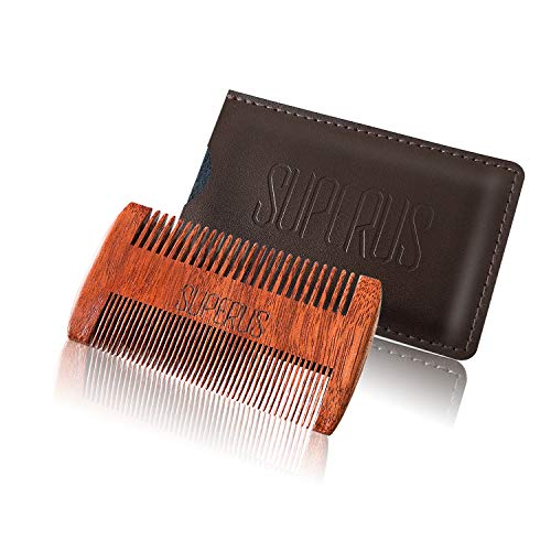 SUPERUS Beard Comb for Men – Sandalwood Mustache Comb with Dual Action Fine & Coarse Teeth and Leather Case – Pocket-Size Wooden Comb