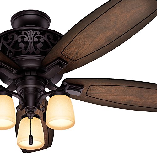 Hunter Fan 54' Traditional Ceiling Fan in Brittany Bronze with Tea Stained Glass Light Fixture, 5 Blade (Certified Refurbished)