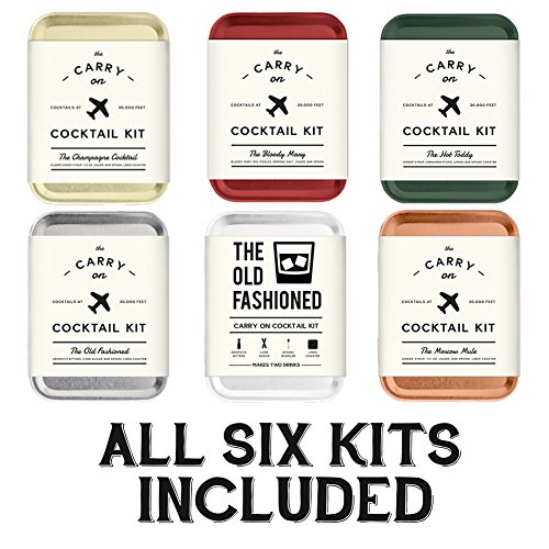 The Carry On Cocktail Kit Old Fashioned, Moscow Mule, Gin and Tonic, Bloody Mary, Hot Toddy, Champagne Cocktail - 6 Pack Carry On Cocktail Kit Holiday Set, Six Carry On Cocktail Kits Makes 12 Drinks by Sawdust + Oil (Image #1)