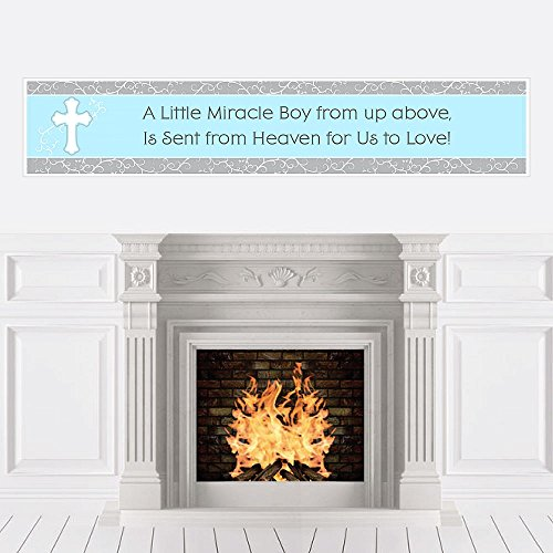 - Big Dot of Happiness Little Miracle Boy Blue & Gray Cross - Baby Shower Decorations Party Banner