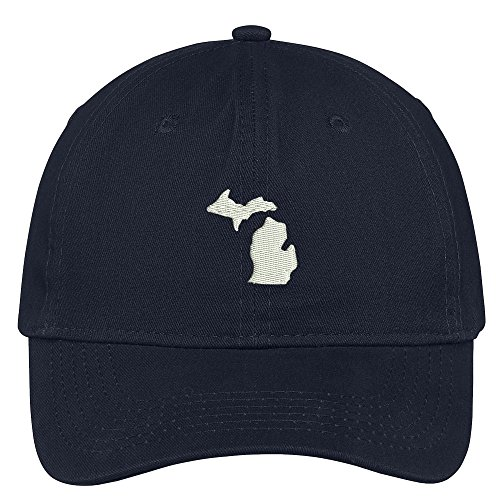 Trendy Apparel Shop Michigan State Map Embroidered Low Profile Soft Cotton Brushed Baseball Cap - Navy