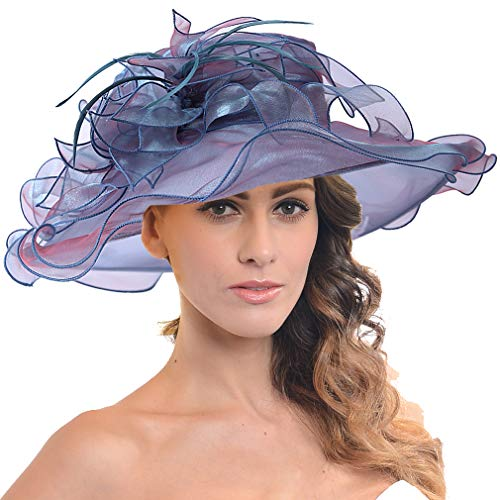 (FORBUSITE Women Floral Wide Brim Church Derby Kentucky Dress Hat (SM036-Peacock Blue))