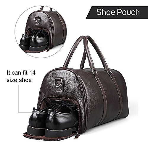 5adc30f6fa FEGER Men s Genuine Leather Travel Duffel Handbag Overnight Weekend Luggage  with Shoe Bag (Brown-