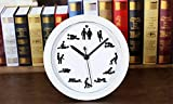 YL 4.7'' Quiet Non-ticking Silent Desk Clock,Creative Retro Vintage Style Alarm Clock,Round Quartz Movement Wall Clock Sex Position Figures Home Room Decor (White)
