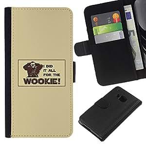 Protector de cuero de la PU de la cubierta del estilo de la carpeta del tirón BY RAYDREAMMM - HTC One M7 - Todo para el Wookie divertido