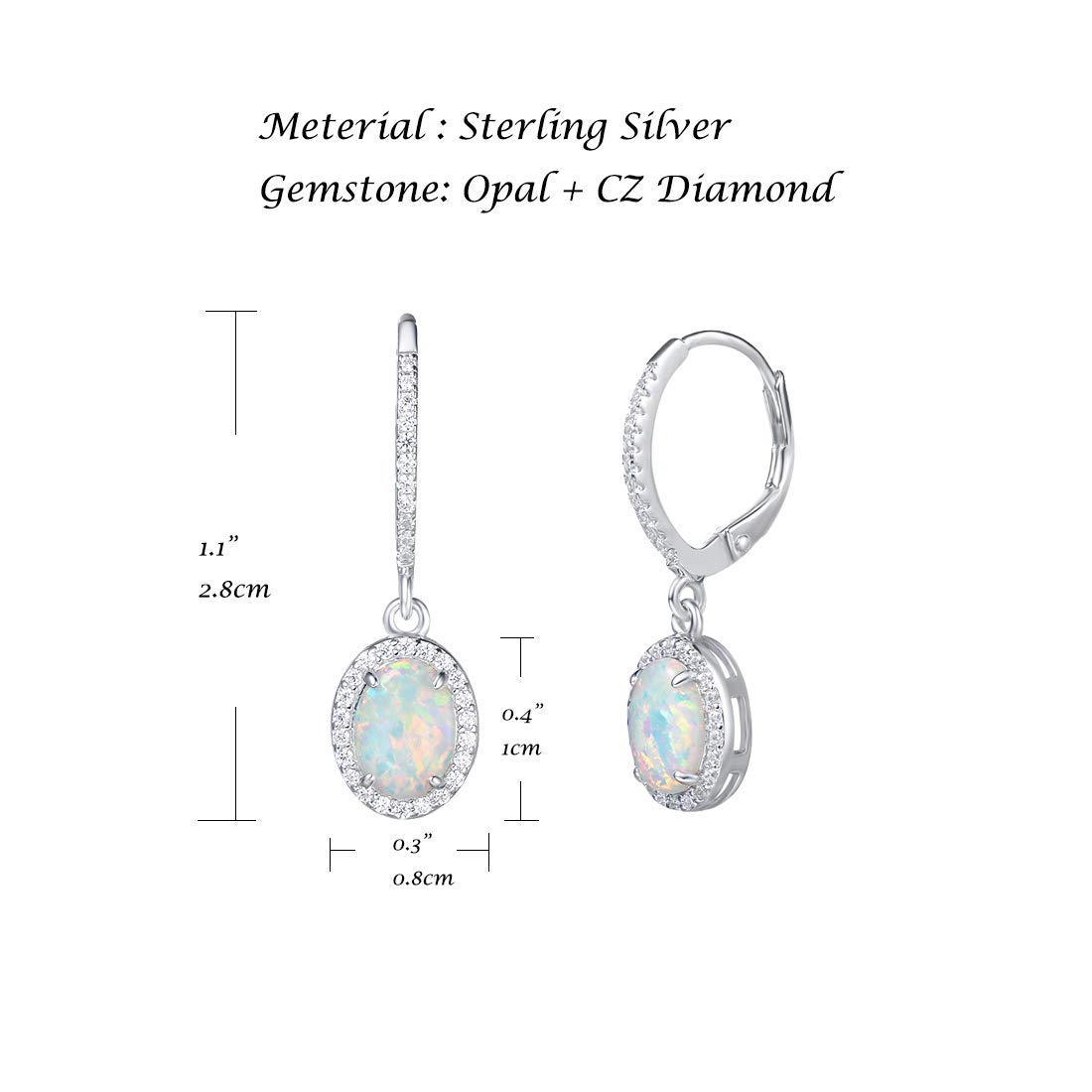 FANCIME Created Opal Lever back Earrings Sterling Silver White Fire Opal Halo Cubic Zirconia Water drop Geometric Oval French Back Drop Dangle Earrings Jewelry for Women Girls