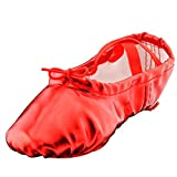 Girl's Pu Ballet Dancing Shoes with Split Soft Sole,Red,Toddler 8M US