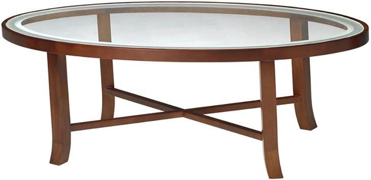 Amazon Com Mayline Illusion Oval Glass Top Coffee Table 48 W X 24 D X 16 H Bourbon Cherry Veneer Furniture Decor