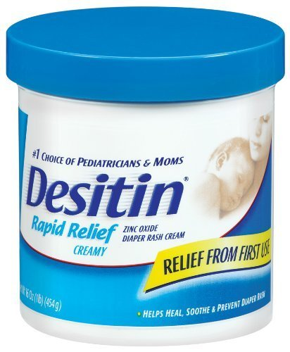 Desitin Zinc Oxide Diaper Rash Rapid Relief Cream, 16 Ounce