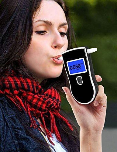 Fannel Portable Breath Alcohol Tester, Professional Digital Breathalyzer LED Screen with 5 Mouthpieces for Home Use (Black) by Fannel (Image #4)