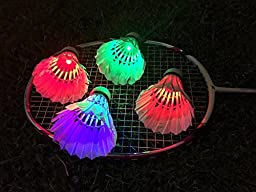 ITEMporia® Multicolor LED Badminton Shuttlecock W Auto On & Off Feature - Dark Night Glow Birdies Lighting For Outdoor & Indoor Sports Activities, Set of 6