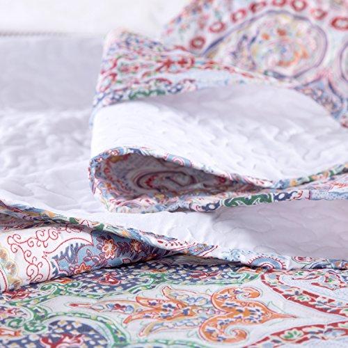 "Printed Quilt Coverlet Set Full/Queen(86″x96″) Crimson Blue Paisley Pattern Lightweight Hypoallergenic Microfiber ""Marrakesh"" by Bedsure 51FOluvEguL"
