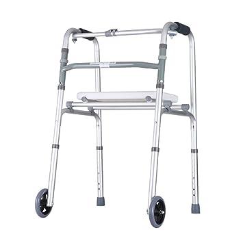 Accesorios para andadores con ruedas Andador Silla De Baño Andador Plegable Asistencia De Caminar Ajustable Ruedas Equipadas Con Asiento Para Personas ...
