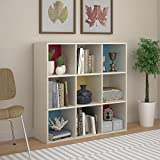 SystemBuild Wink 9 Cube Storage Bookcase, White/Multi Color