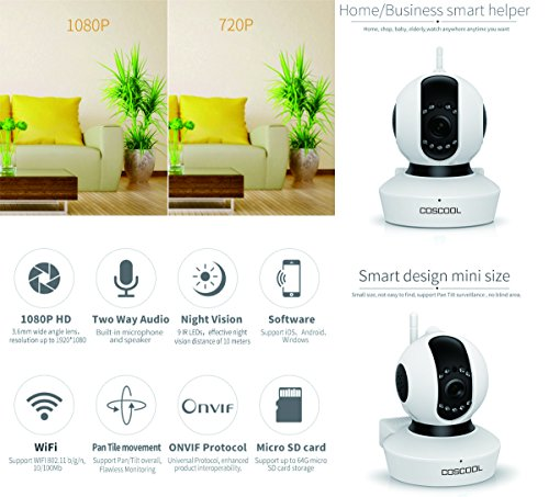 CosCool IP Camera 1080P Wireless,Wifi Surveillance Camera Network Security Webcam,Microphone Inside,Two Way Audio,Onekey Wifi Fast Setting,Night Vision,ONIVF,Pan/Tilt Movement Baby Pet Video Monitor by CosCool (Image #1)