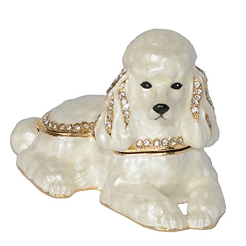 Enameled Pewter Bejeweled White Poodle Dog Trinket Box Cute Gift for Dog Lover