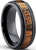 Black Titanium Wedding Band with Real Koa Wood Inlay, Milgrain Ring comfort fit 8MM Size 8