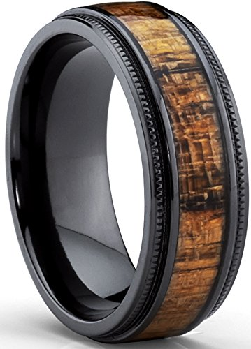 Metal Masters Co. Black Titanium Wedding Band with Real Koa Wood Inlay, Milgrain Ring comfort fit 8MM Size ()