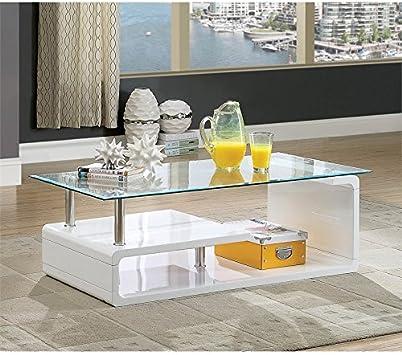 Amazon Com Furniture Of America Velencia Modern Glass Coffee
