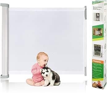 Puerta de seguridad retráctil para escalera de bebé y niño con cerradura de llave, gran puerta retráctil de 80 x 130 cm: Amazon.es: Bebé